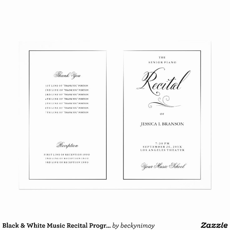 Musical Program Template Luxury 15 Best Recital Programs Images On Pinterest