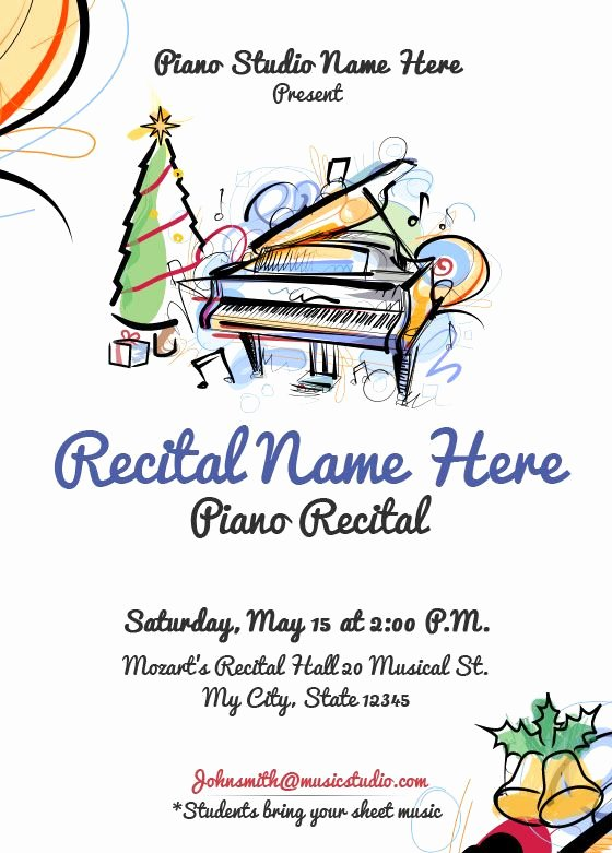 Musical Program Template Luxury Christmas Piano Recital Invitation