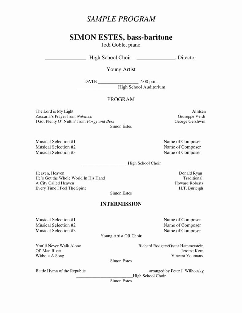 Musical Program Template Unique 7 Concert Program Templates Pdf