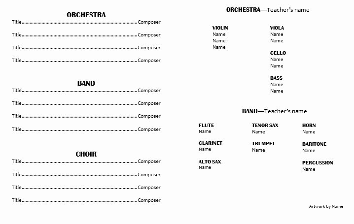 Musical Program Template Unique Teaching Elementary orchestra Template for A Concert