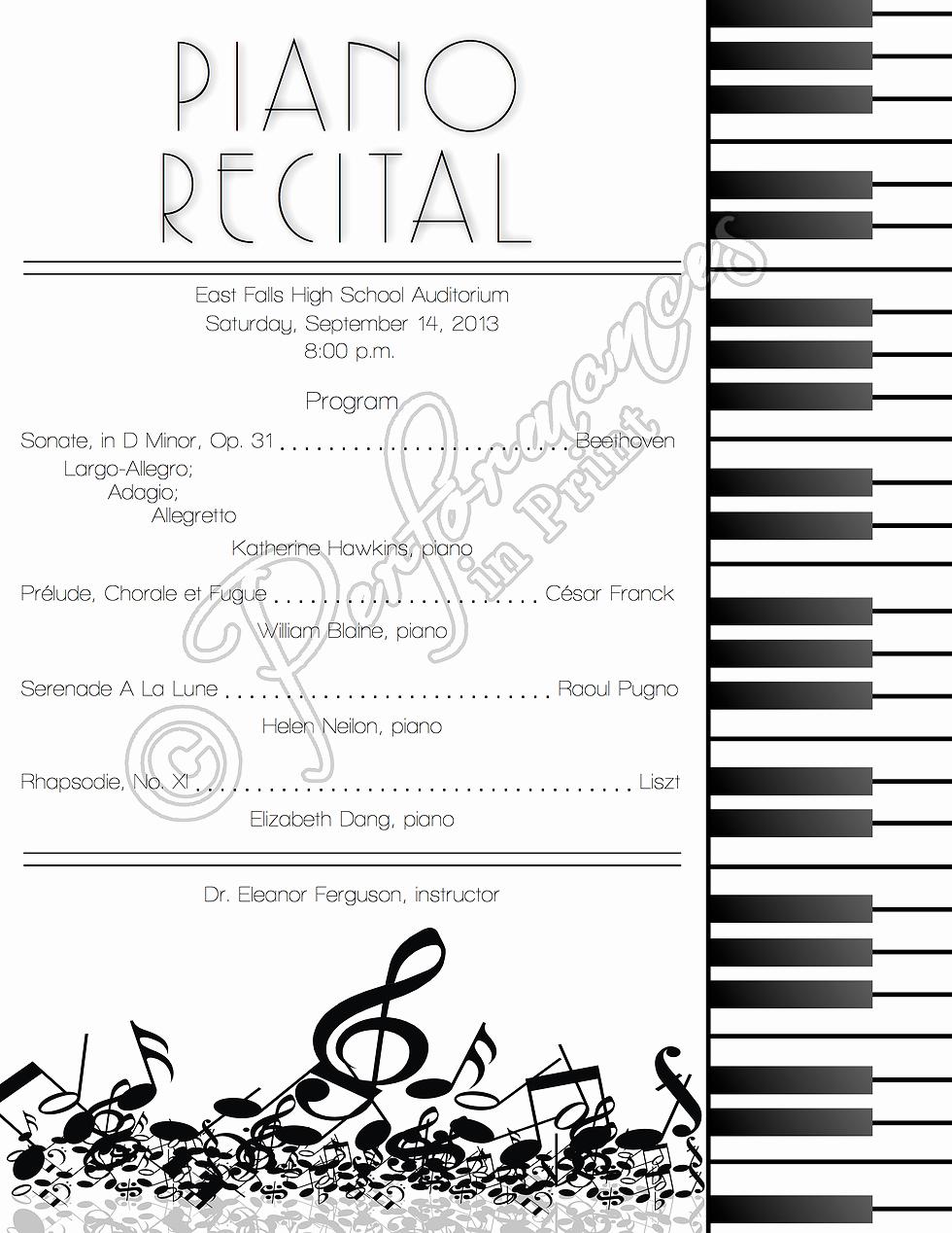 Musical Program Templates Awesome Piano Recital Concert Music Program