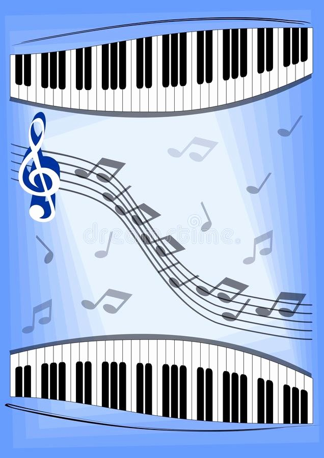 Musical Program Templates Elegant Music Leaflet with Notes Piano Keyboard and Treble Clef