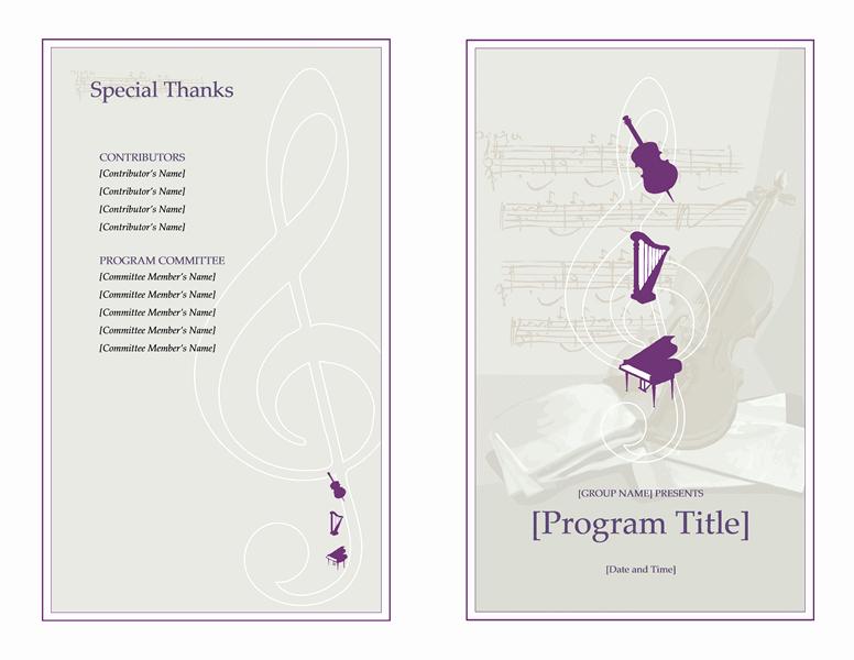 Musical Program Templates Elegant Programs Fice
