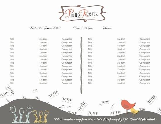 Musical Program Templates Elegant Template for Piano Recital Program
