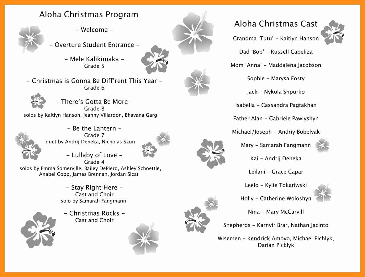 Musical Program Templates Fresh 9 10 Free Christmas Program Template