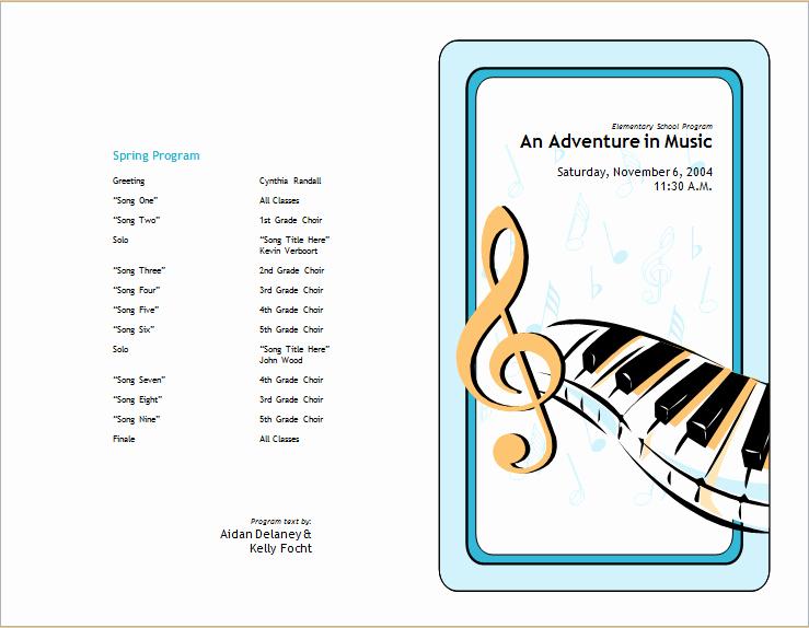 Musical Program Templates Inspirational School Concert event Brochure Template