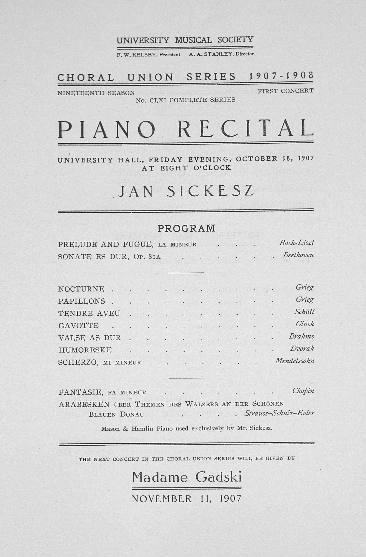 Musical Program Templates New Ums Concert Program October 18 1907 Choral Union Series