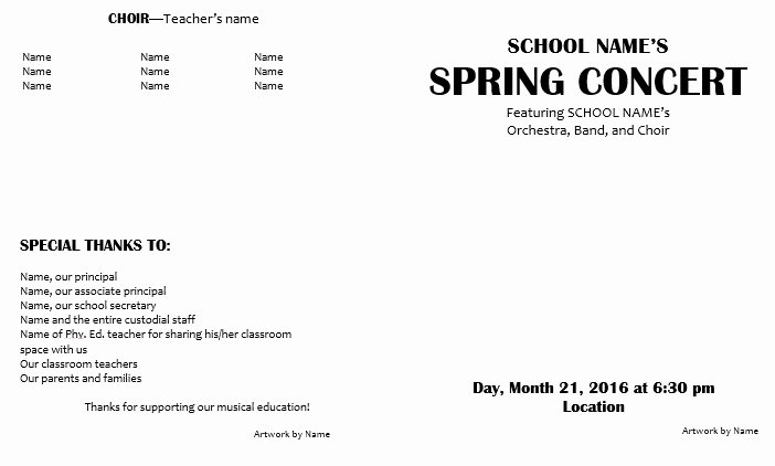 Musical Program Templates Unique Teaching Elementary orchestra Template for A Concert