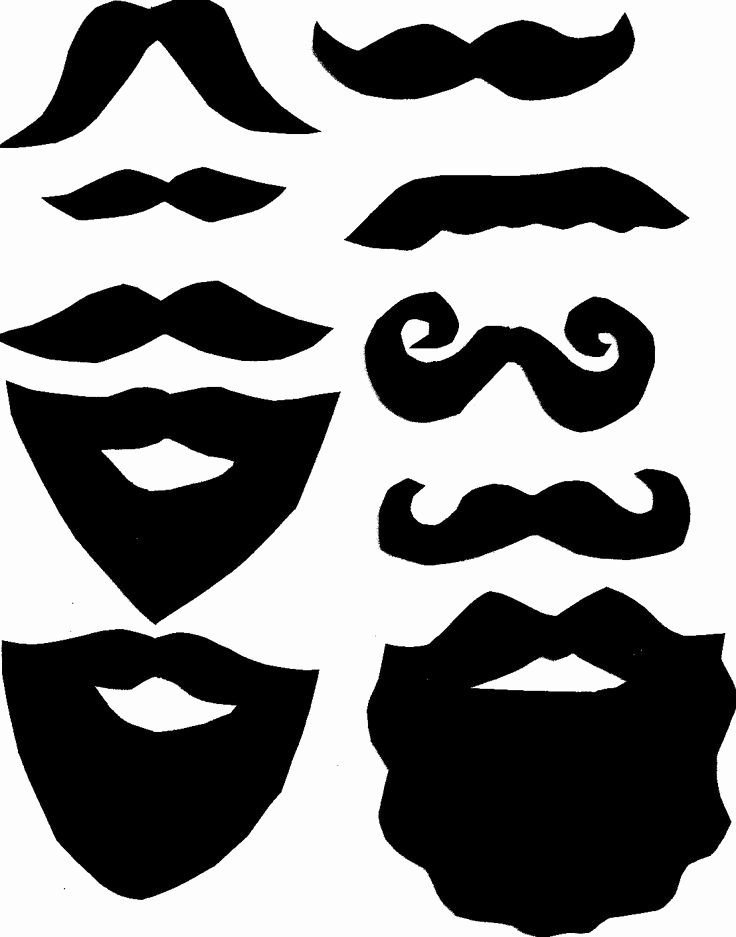 Mustache Cut Out Templates Fresh Beard Clipart Photo Booth Prop Pencil and In Color Beard