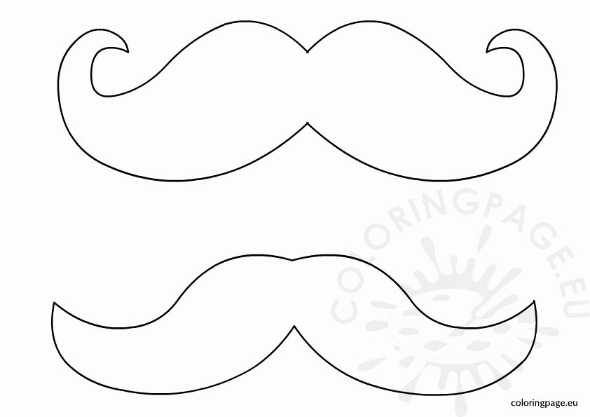 Mustache Cut Out Templates Inspirational Mustache Template – Coloring Page