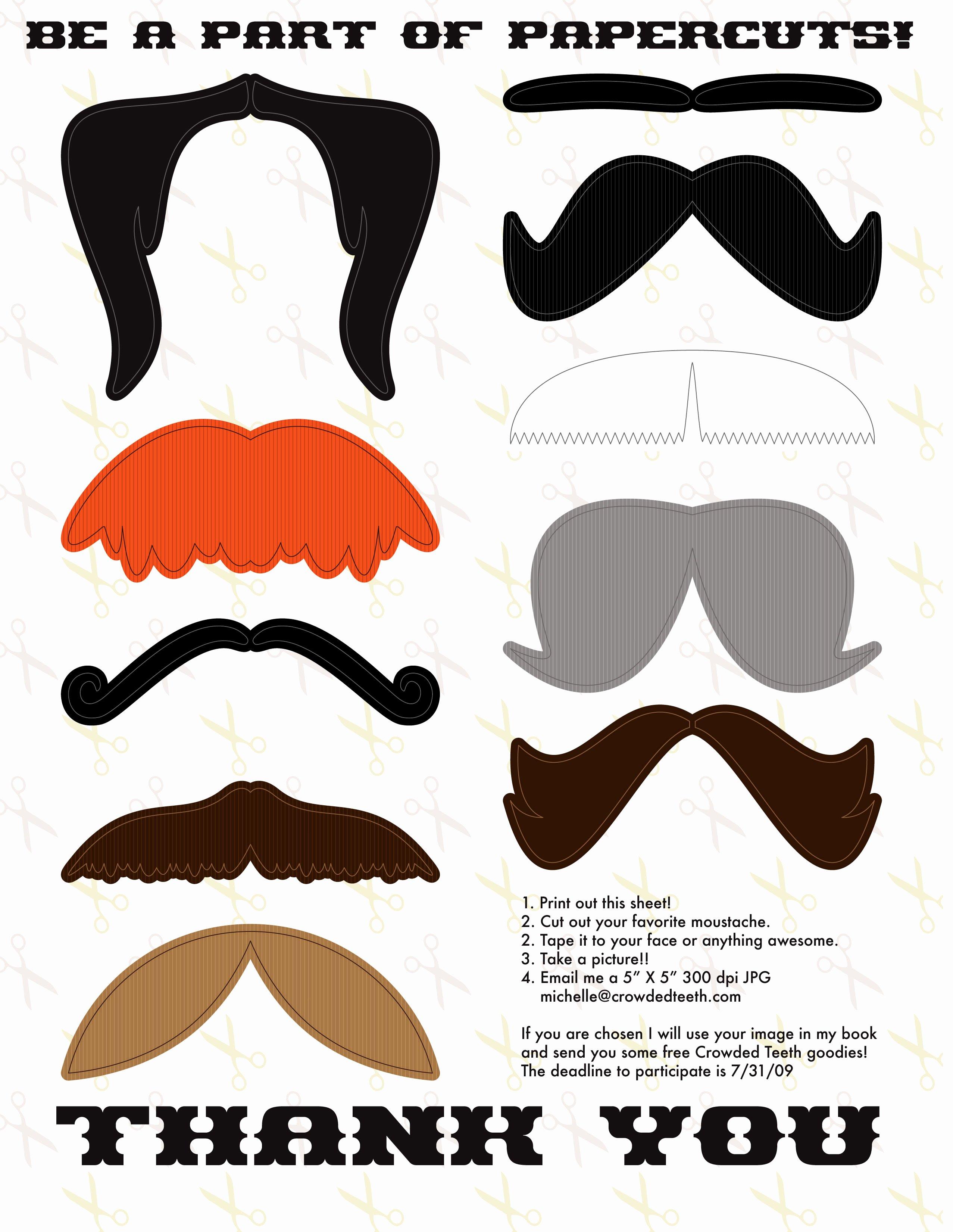 Mustache Cut Out Templates Inspirational Printable Moustache