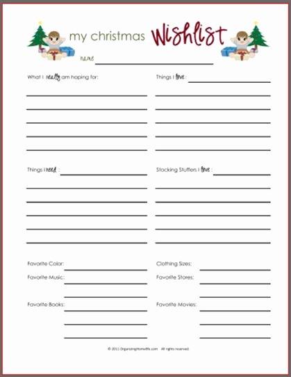My Favorite Things List Template Beautiful Printable Christmas Gift Wish List Plus Lots Of Great