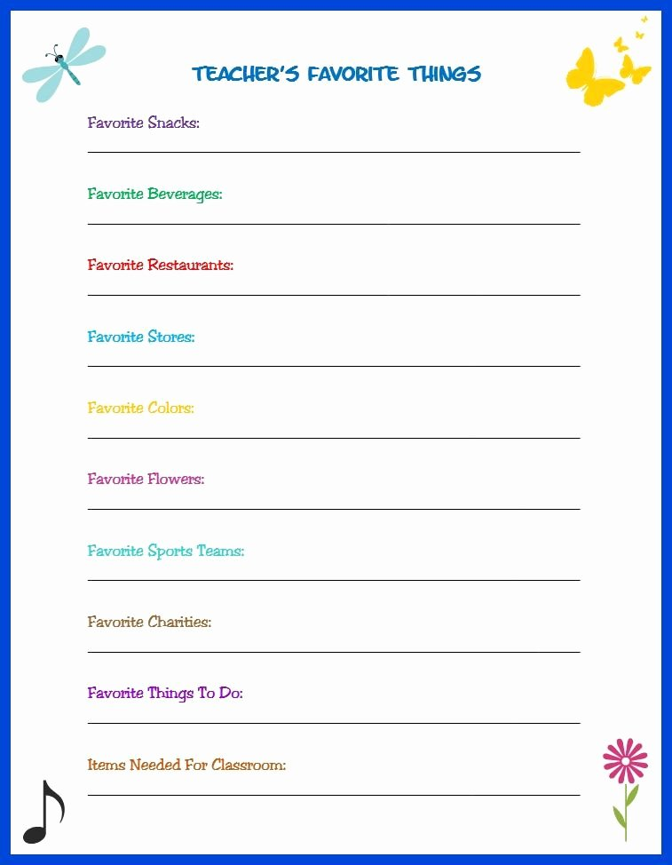 My Favorite Things List Template Beautiful Teacher S Favorite Things Survey the Easy Way to Make