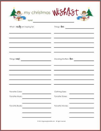 My Favorite Things List Template Best Of Wish Lists Printables for Boys Girls & Everyone