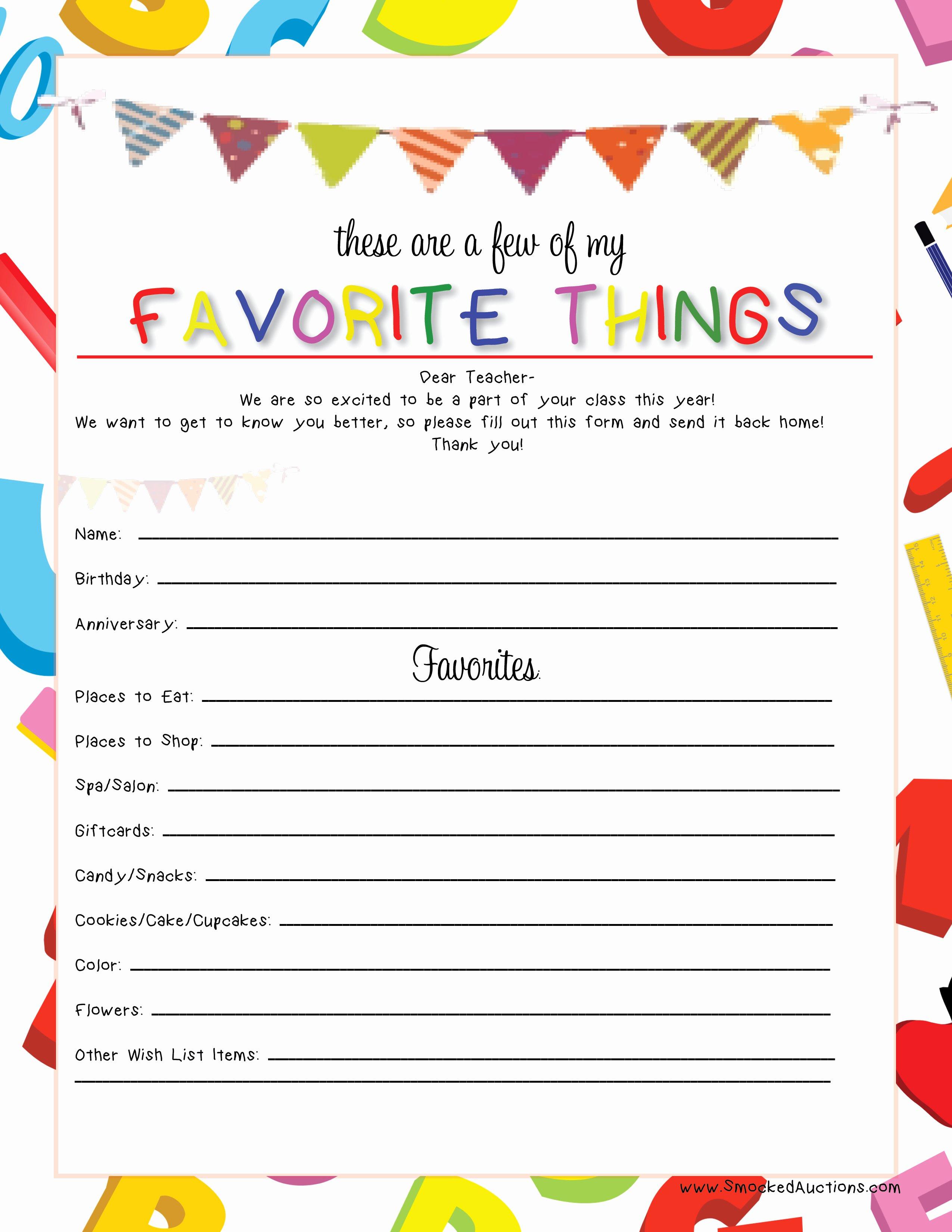 My Favorite Things List Template Elegant Smocked Auctions Blog Teacher S Favorite Things