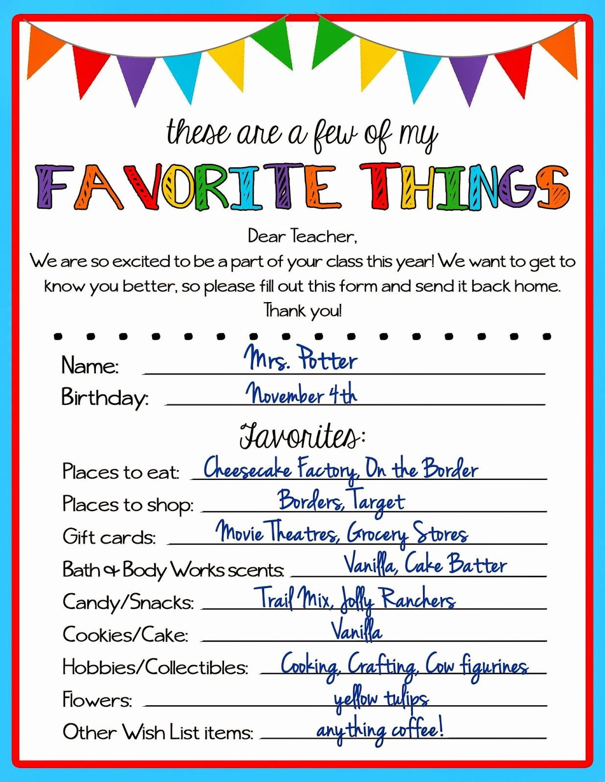 My Favorite Things List Template Luxury Kicking ass & Crafting Teacher Favorite Things Questionnaire