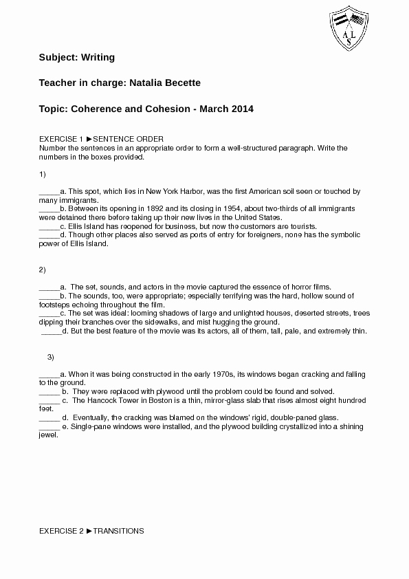 My First Car Essay Luxury Coherence and Cohesion Activity Sheet
