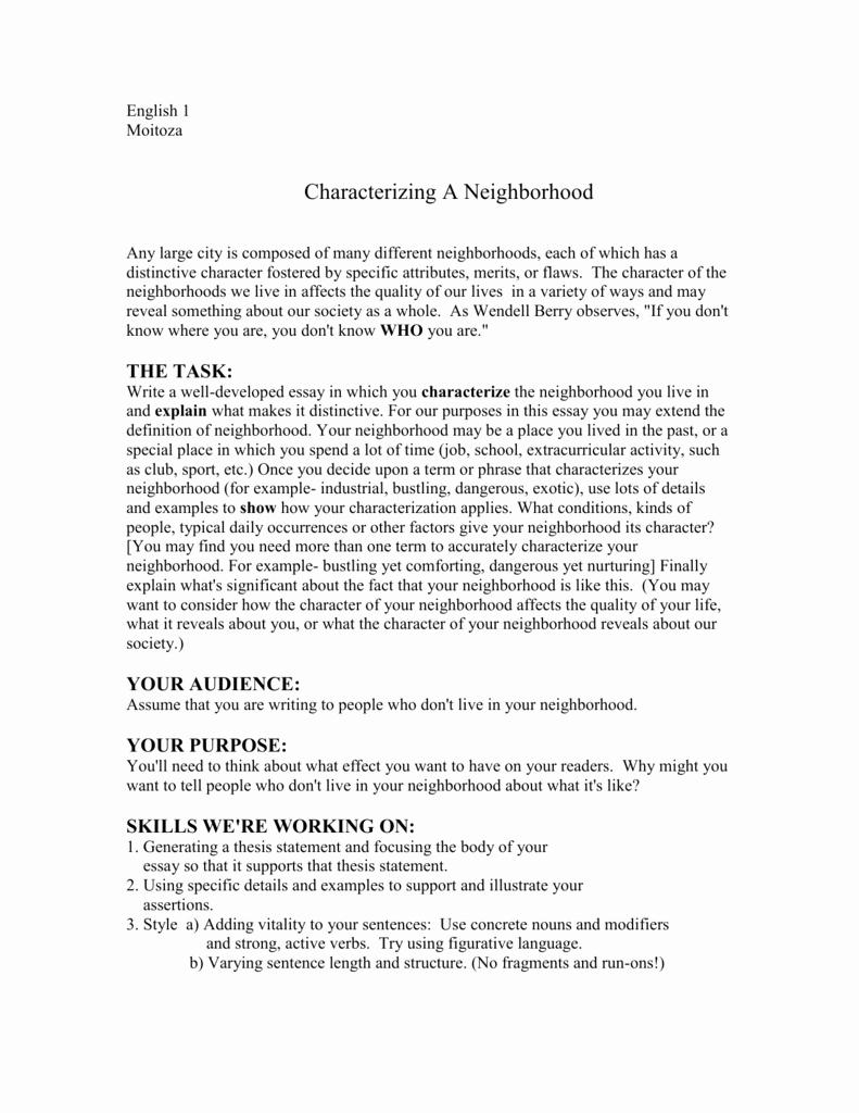 My Neighborhood Essay Example Elegant ️ Writing Essay About A Neighborhood Writing 3 My