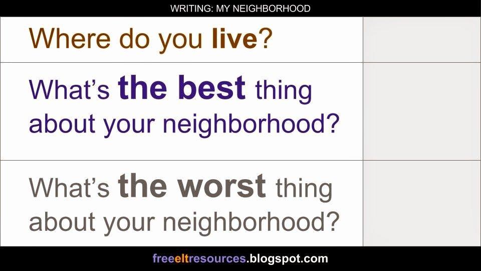 My Neighborhood Essay Example Elegant Free Elt Resources Writing My Neighborhood