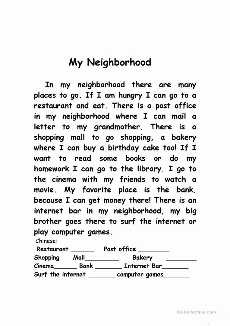 My Neighborhood Essay Example Elegant My Neighborhood Worksheet Free Esl Printable Worksheets