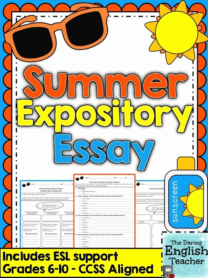 My Summer Vacation Paragraph Best Of Summer Expository Essay Grades 6 10 Ccss Aligned