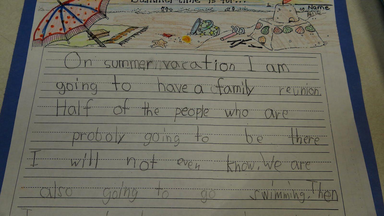 My Summer Vacation Paragraph New Patties Classroom Summer Vacation Writing