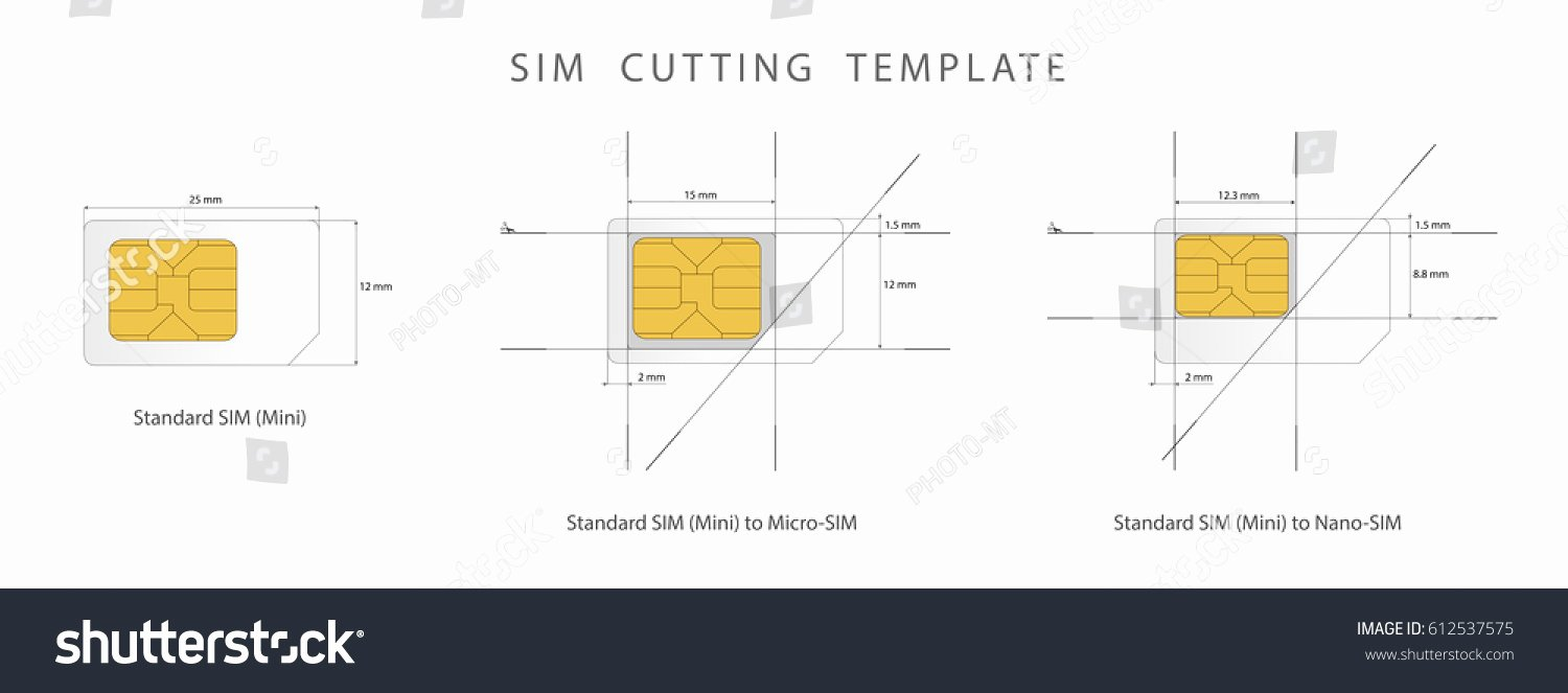 Nano Sim to Micro Sim Template Luxury Sim Card Cutting Template Standard Micro Stock Vector