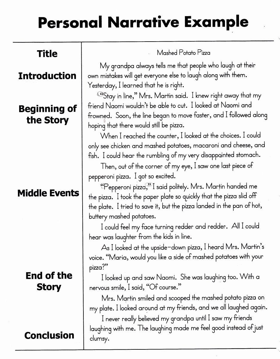 Narrative Writing Examples College Level Beautiful Sample Narrative Essay 4th Grade Essay Test Taking Tips