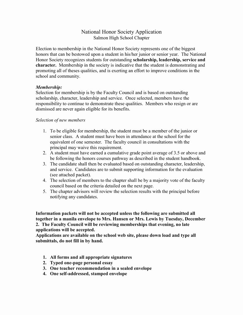 National Honor society Application Examples Beautiful Application Essay Honor National society