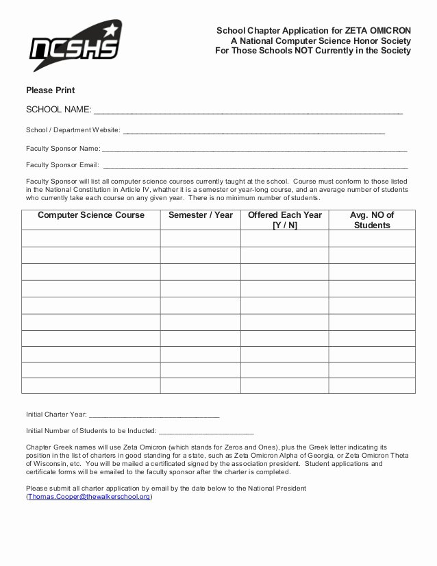 National Honor society Application Examples Inspirational Ncshs School Chapter Application form