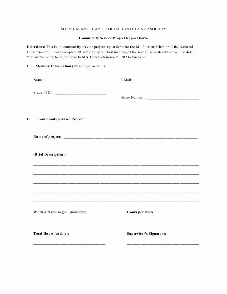 National Honor society Application Examples Unique Munity Service Project form