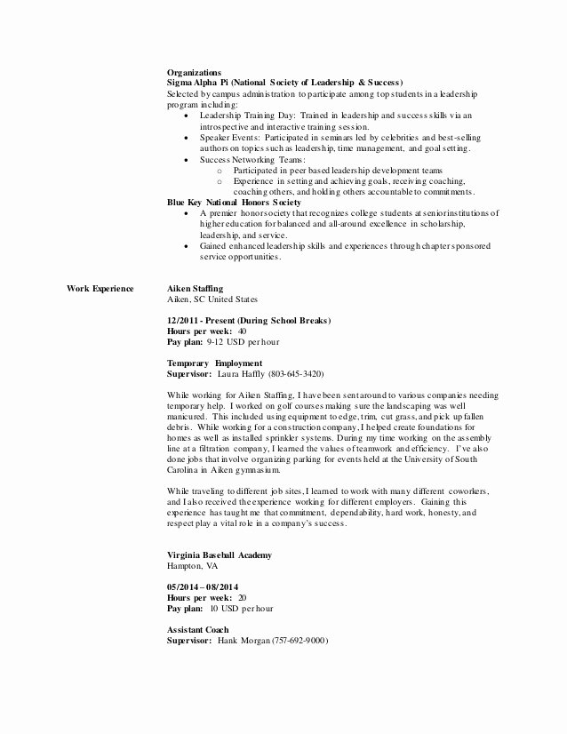 National Honor society Resume Beautiful Cole Cromer Extended Resume