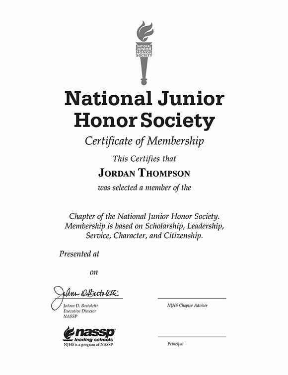 National Honor society Resume Lovely National Junior Honor society Gold Embossed Certificate