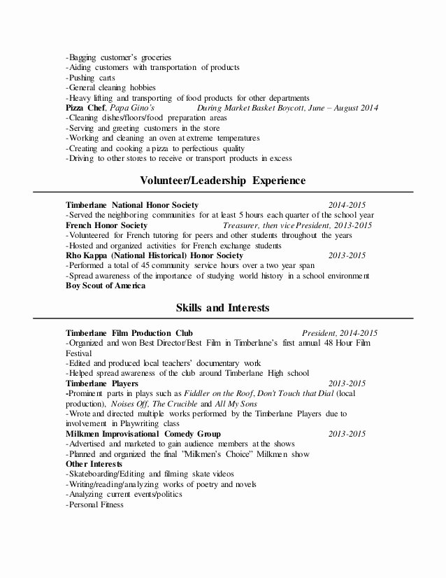 National Honor society Resume New Erik Farrah Resume Summer 2016