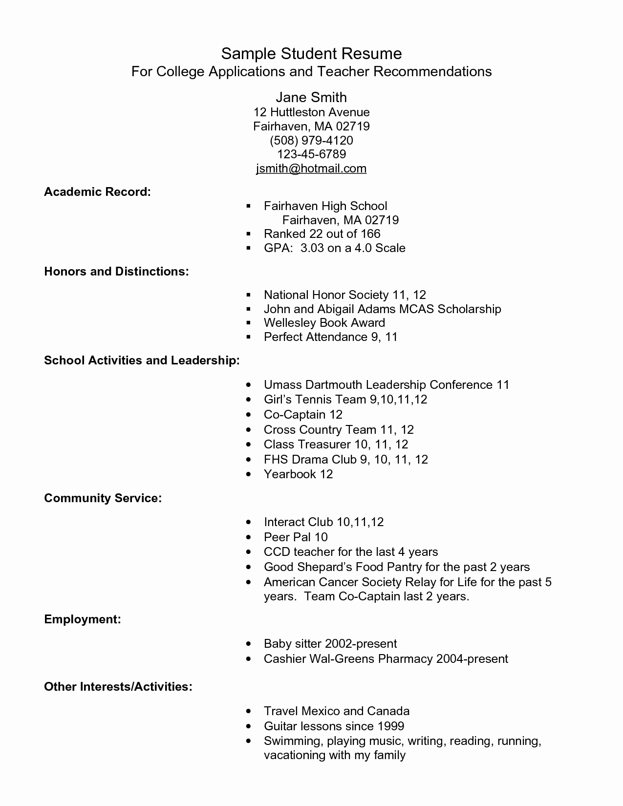 National Honor society Resume New Example Resume for High School Students for College