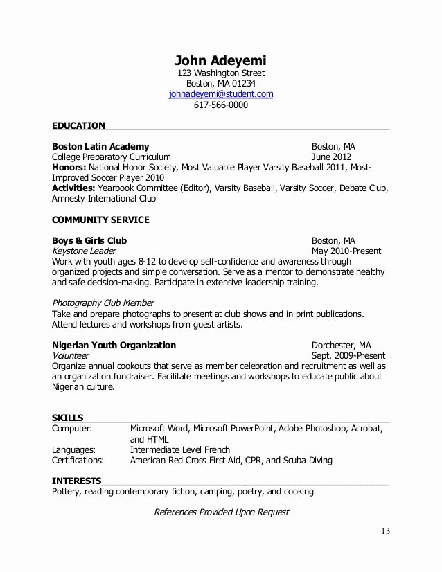 National Honor society Resume Unique Teenlife Guide to Writing Resumes