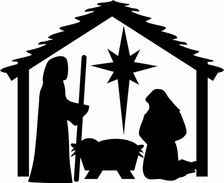 Nativity Scene Silhouette Pattern Beautiful Nativity Christmas Wall Stickers Vinyl Decal Decor Art