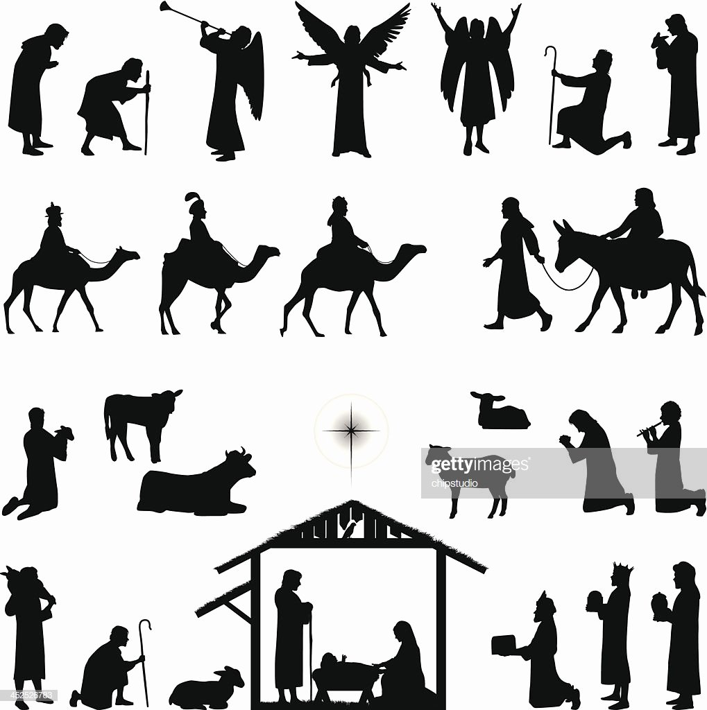 Nativity Scene Silhouette Pattern Free Fresh Nativity Vector Art