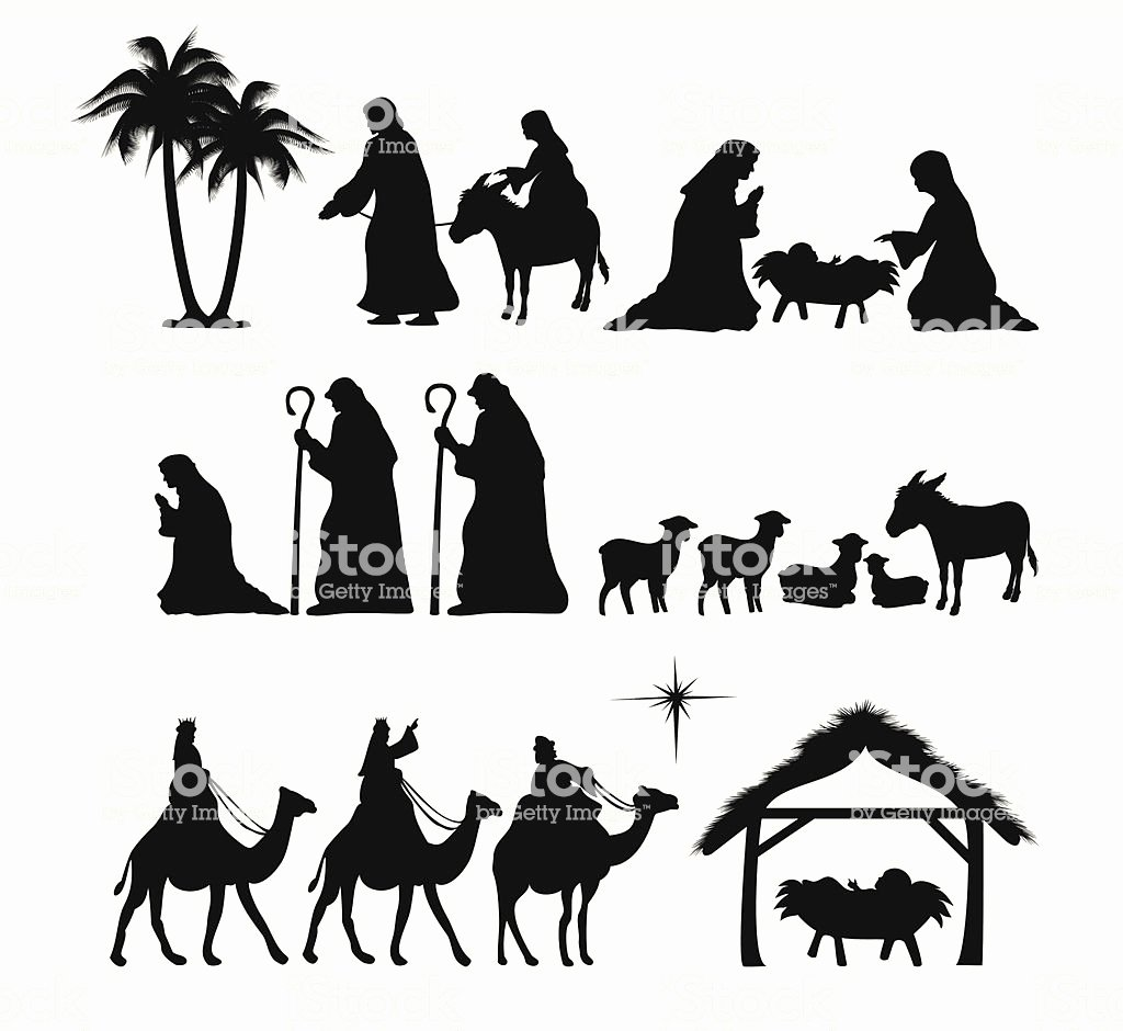 Nativity Scene Silhouette Pattern Free Luxury Nativity Silhouette Stock Vector Art & More Of