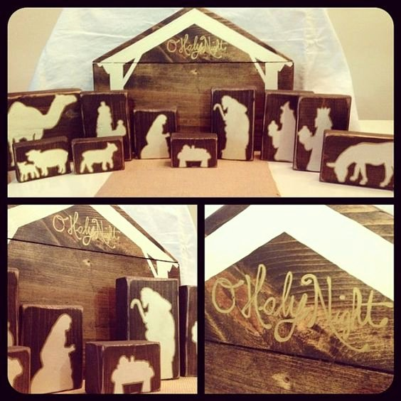 Nativity Scene Silhouette Pattern Luxury Wooden Nativity Block Silhouette Pattern