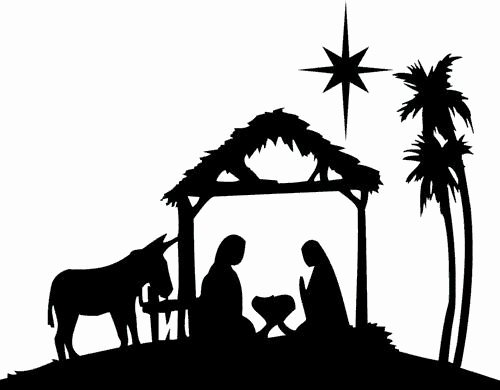Nativity Silhouette Pattern Beautiful Xmas Die Cut Silhouette Nativity and Donkey X 6 Card