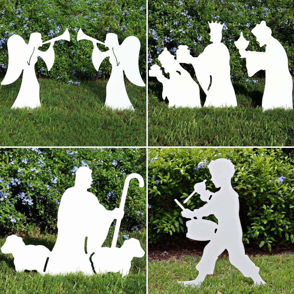 "Nativity Silhouette Pattern Inspirational Christmas Nativity Scene 50"" Silhouette Nativity Outdoor"