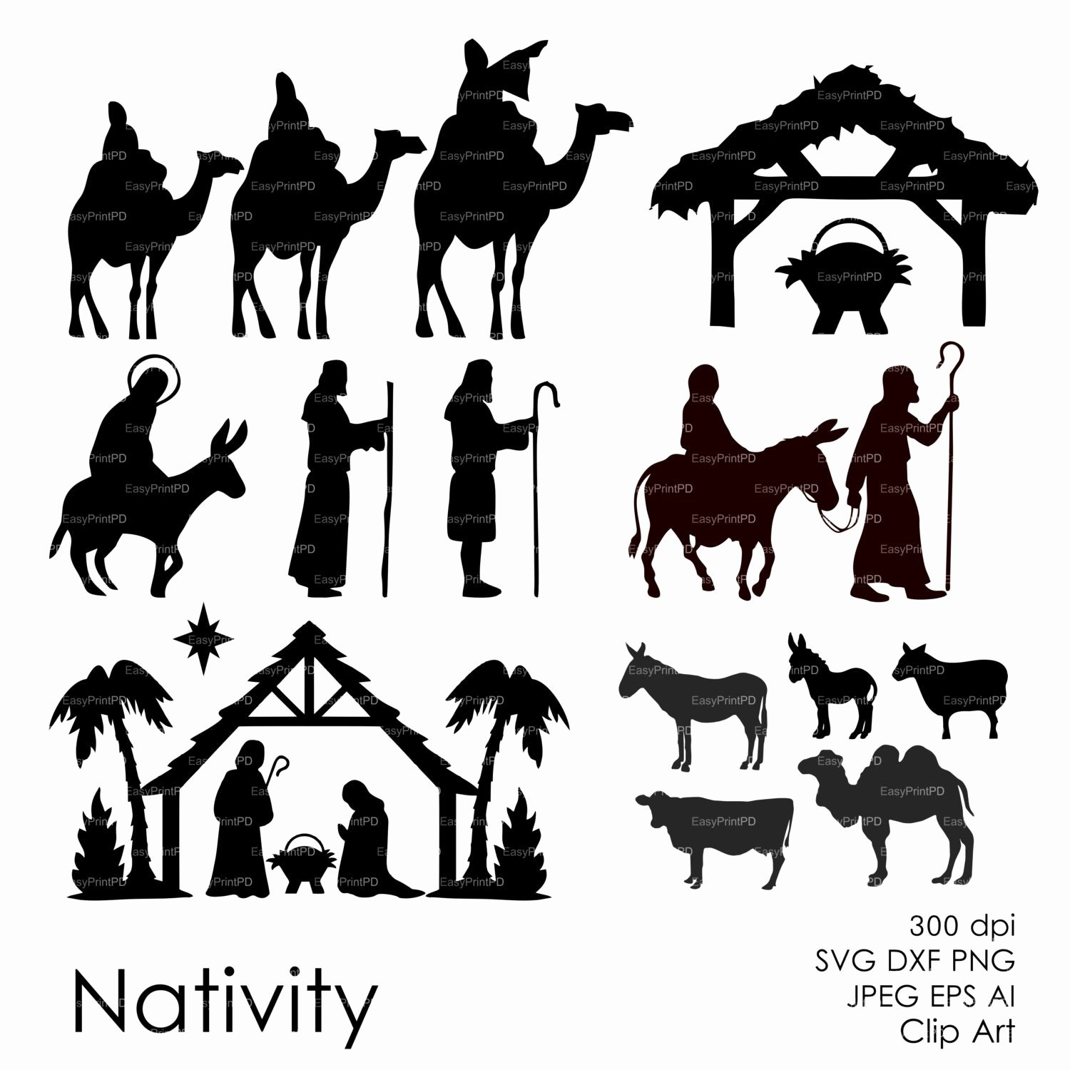 Nativity Silhouette Patterns Download Elegant Nativity Christ Silhouette Overlays Vector Digital Clipart