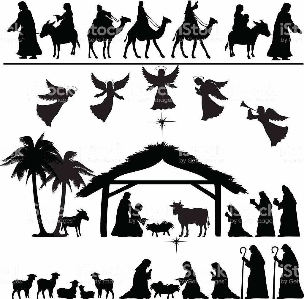 Nativity Silhouette Patterns Download Lovely Nativity Silhouette Set Eps 8