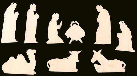 Nativity Silhouette Patterns Download New 9 Piece Set Nativity Scene Christmas ornament with Holes