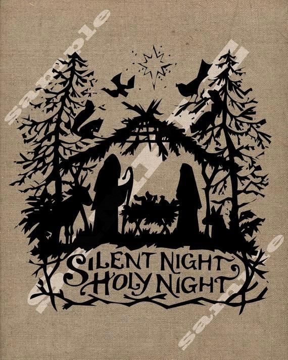 Nativity Silhouette Printable Elegant Silent Night Christmas Nativity Holy Family by Tinyblessingstx