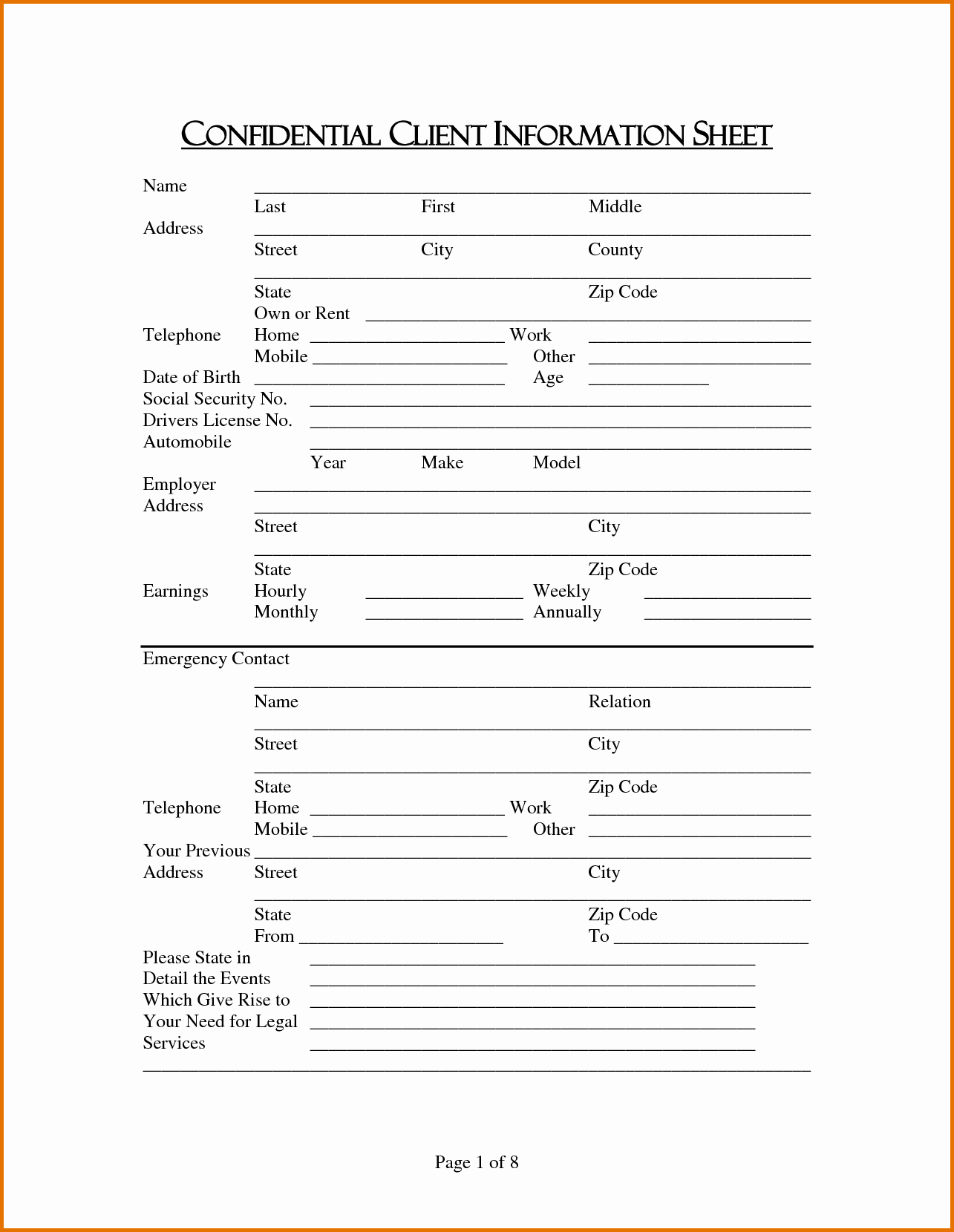 New Client form Template Beautiful 7 Client Information Sheetreference Letters Words