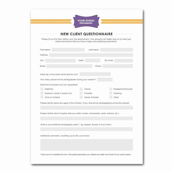 New Client form Template Beautiful New Client Questionnaire form Template for Graphers