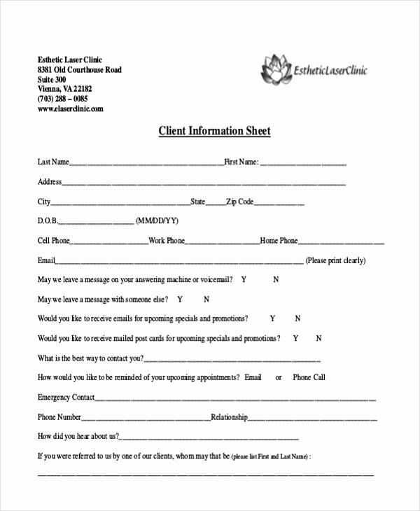 New Client form Template Fresh 9 Client Information Sheet Templates Free Samples