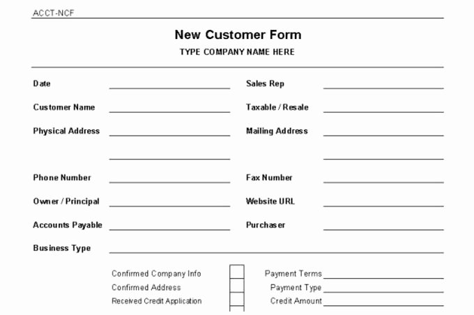 New Client form Template Fresh Accounts Receivable Controls Vitalics